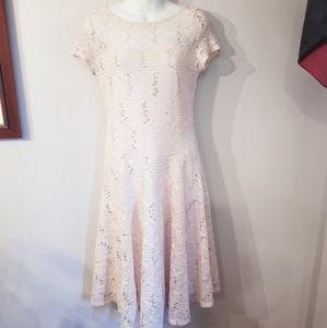 Sangria cream lace bateau a-line knee length dress